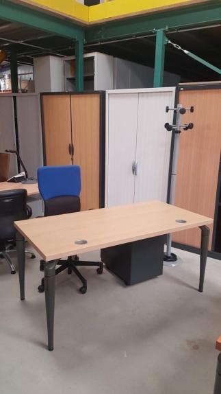 Bureau Plan Droit SAMAS Hêtre  DIM : 160 x 80 cm
