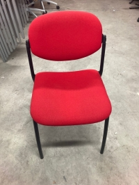 Chaise 4 pieds tissu rouge